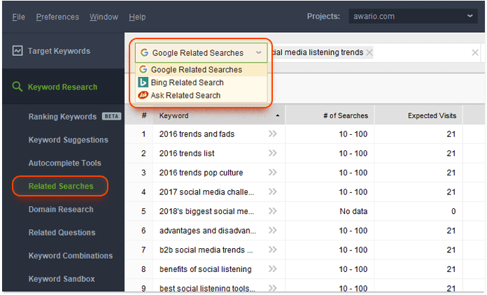 Related Searches keyword